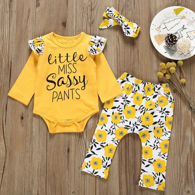 Autumn Newborn Kid Toddler Infant Baby Boy Girl clothes Letter Printed Playsuit Romper Print Pants Hairband