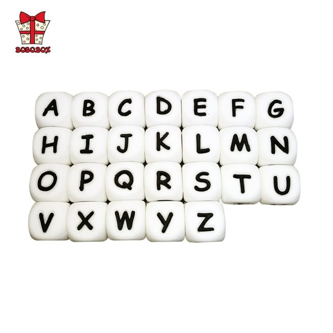 BOBO BOX 10Pcs Silicone English Alphabet Beads Letter BPA Free Material For DIY Baby Teething Necklace
