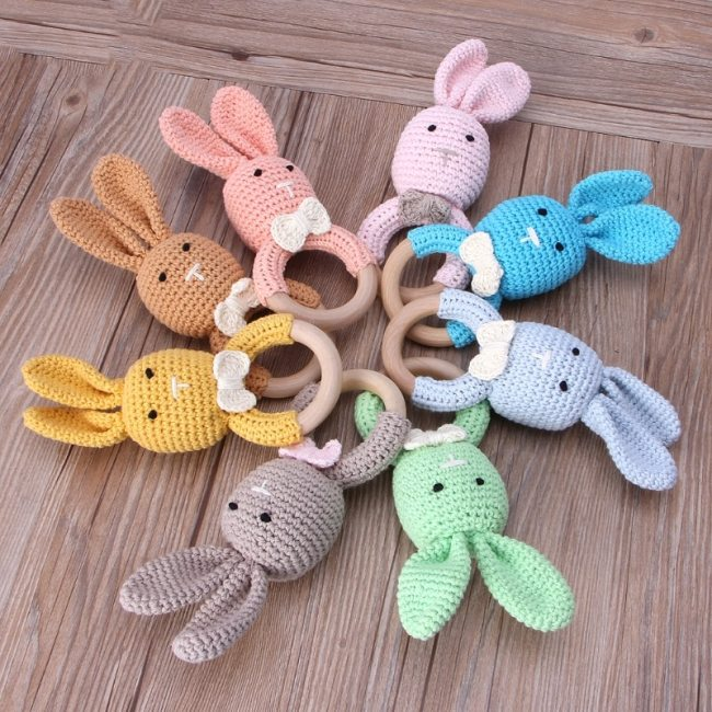BPA Free Crochet Wooden Ring Baby Teether Safe Cute Animal Rattle Chewing Teething Nursing Soother Molar 1