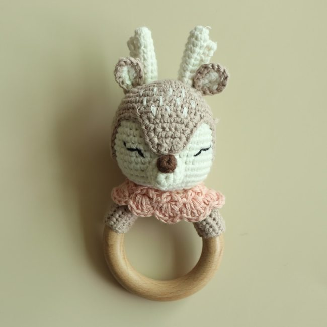 BPA Free Crochet Wooden Ring Baby Teether Safe Cute Animal Rattle Chewing Teething Nursing Soother Molar 4