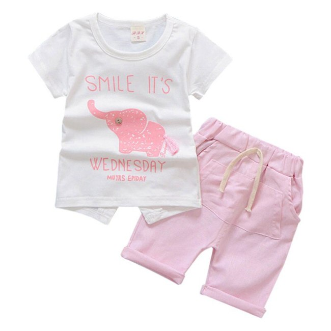 Baby Boy Clothes 2018 Summer Brand Infant Clothing Elephant Short Sleeved T shirts Tops Striped Pants 2