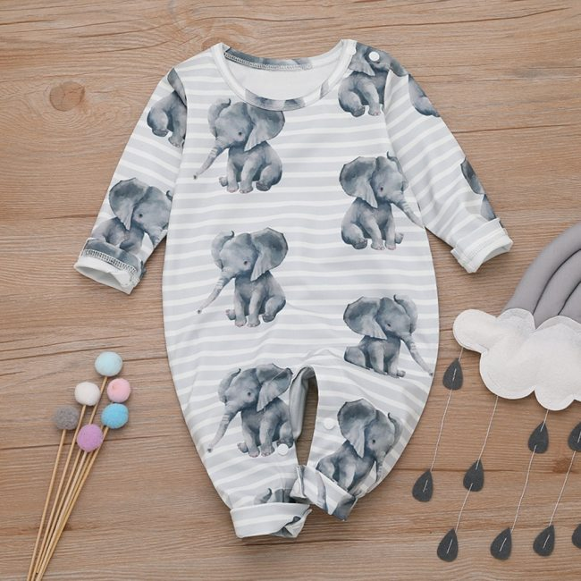 Baby Boy Romper Cartoon Elephant Romper Jumpsuit Playsuit Outfits Toddler Boy Clothes Cotton O neck baby