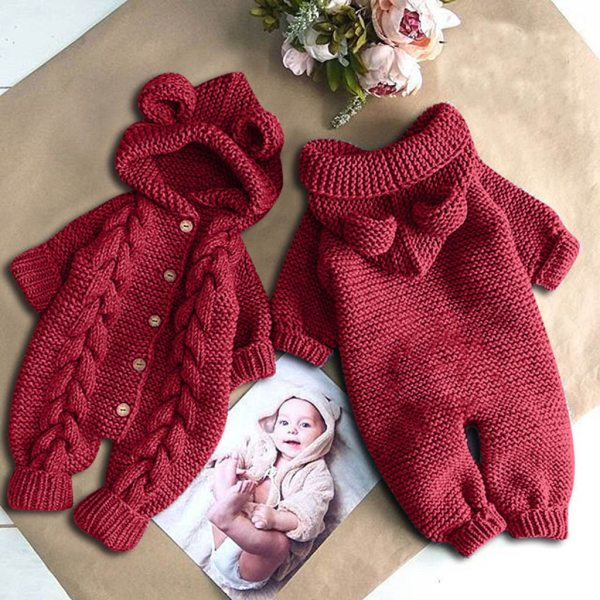 Baby Knit Romper Cartoon Bear Knitted Autumn Newborn Boys Hooded Jumpsuits Clothes Winter Long Sleeve Toddler 3