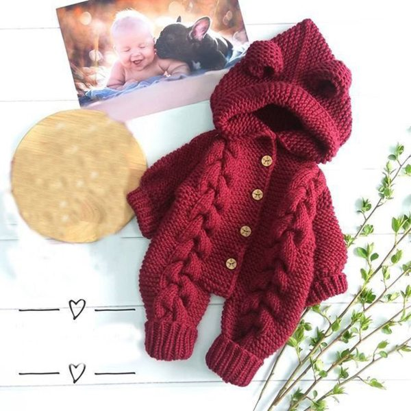 Baby Knit Romper Cartoon Bear Knitted Autumn Newborn Boys Hooded Jumpsuits Clothes Winter Long Sleeve Toddler