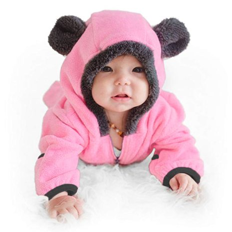 Baby winter clothes baby footed romper Infant Baby Girls Boys Solid Cartoon Fleece Ears Hoodie Romper 2