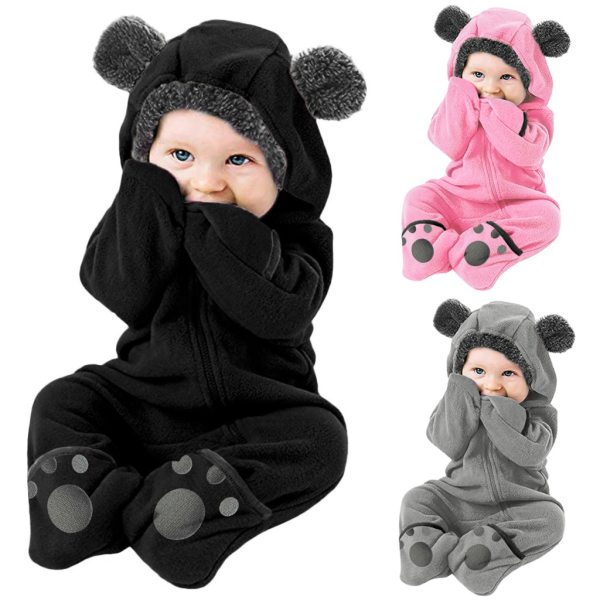 Baby winter clothes baby footed romper Infant Baby Girls Boys Solid Cartoon Fleece Ears Hoodie Romper