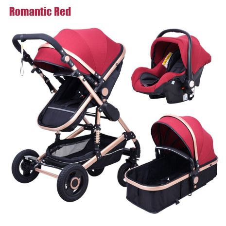 Babyfond stroller High landscape Baby Stroller 3 in 1 with Car Seat Folding Baby Carriage for 5