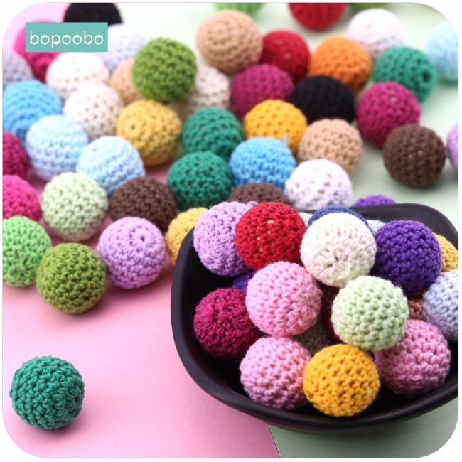 Bopoobo 20mm 10pcs Wooden Crochet Beads Chewable Beads DIY Wooden Teething Knitting Beads Jewelry Crib Sensory