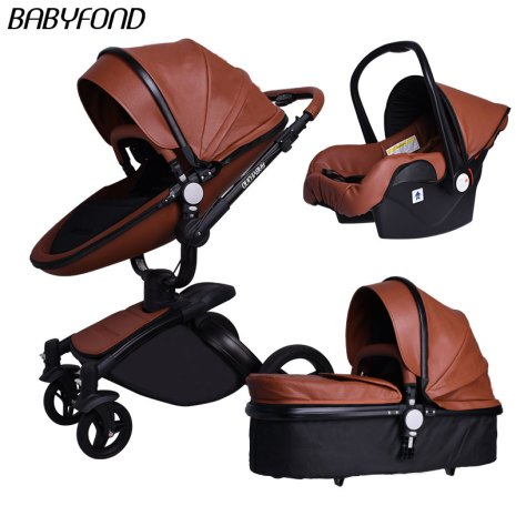 Brand 3 in 1 baby stroller folding two way push luxury high landscape baby carriage with 3