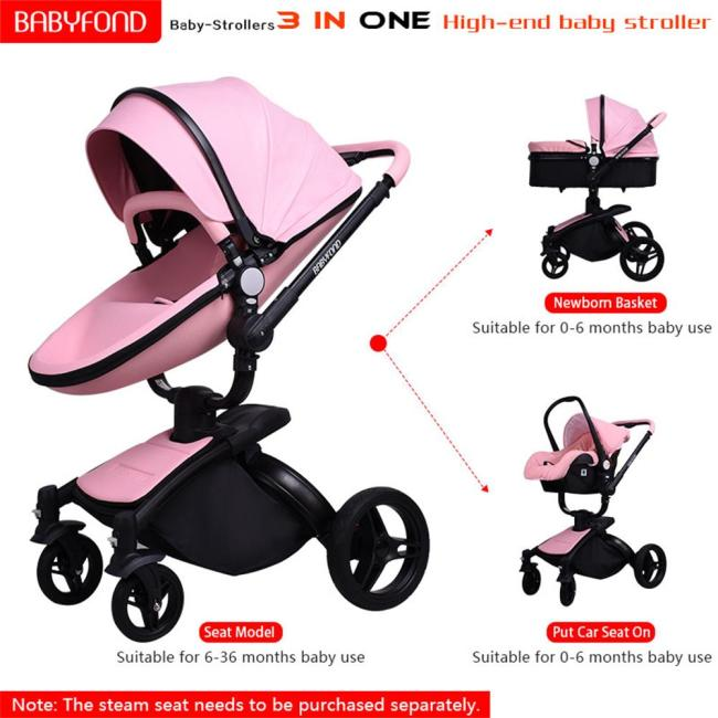 Brand 3 in 1 baby stroller folding two way push luxury high landscape baby carriage with 4