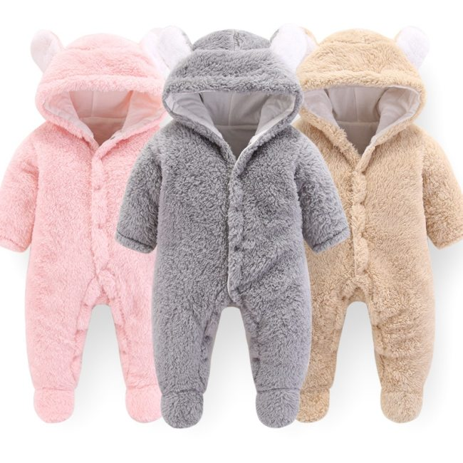 CYSINCOS Newborn Baby Winter Clothes Outerwear Rompers Infant Boys Girls Soft Fleece Jumpsuit Newborn Thicken Pajamas 1
