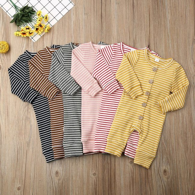 Casual Winter Cloth Toddler Infant Baby Boys Girls Long Sleeve O Neck Stripe Cartoon Print Jumpsuit