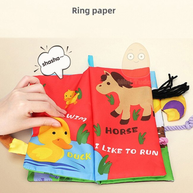 Infant 3 Style Baby Cloth Books Early Learning Educational Toys With Animals Tails Soft Cloth Development 2