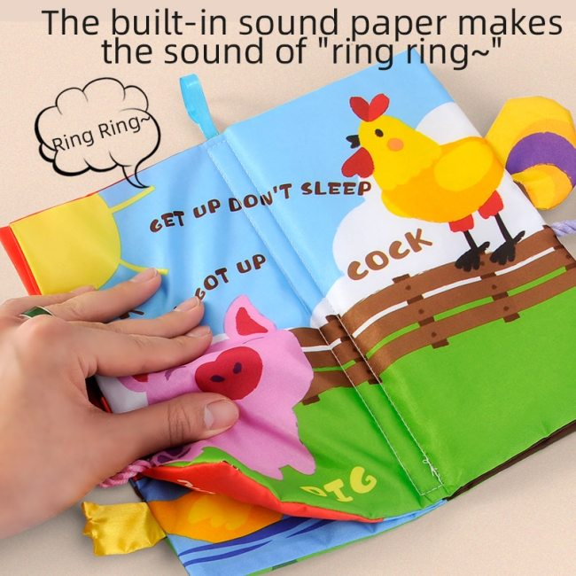 Infant 3 Style Baby Cloth Books Early Learning Educational Toys with Animals Tails Soft Cloth Development 8