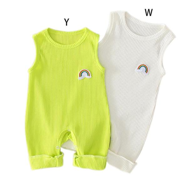 Infant Baby Girls Rainbow Print Sleeveless Kids Boys Casual Bodysuit Jumpsuit Newborn Clothes