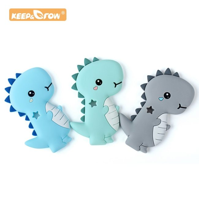 Keep Grow 1 pc Dinosaur Baby Teether Rodent Animal Silicone Beads Chew Charms Food Grade Silicone