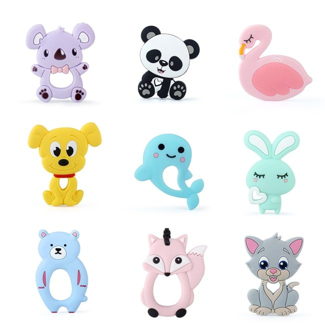 Keep Grow 1pc Baby Silicone Teethers BPA Free Teething Toy Animals Koala Bear Dog Teether Silicone