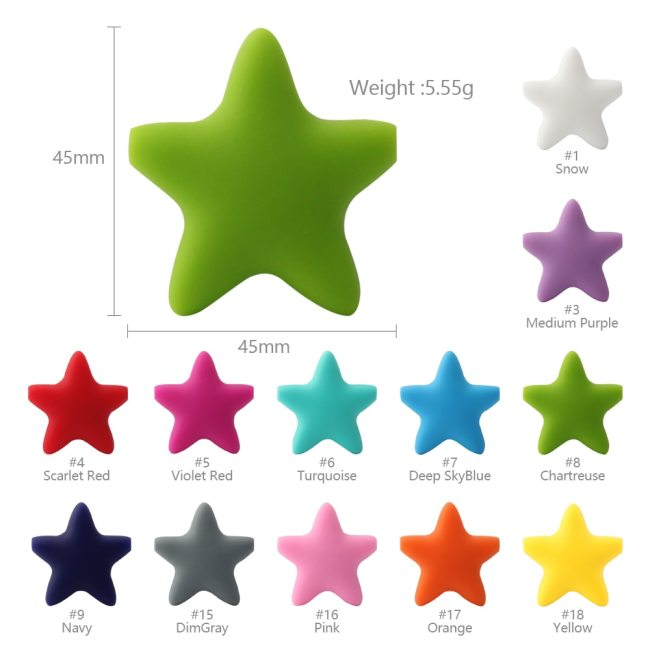 Keep grow Stars Silicone Beads 12Colors Baby Teethers Food Grade Baby Teething Toys For Pacifier Chain 2