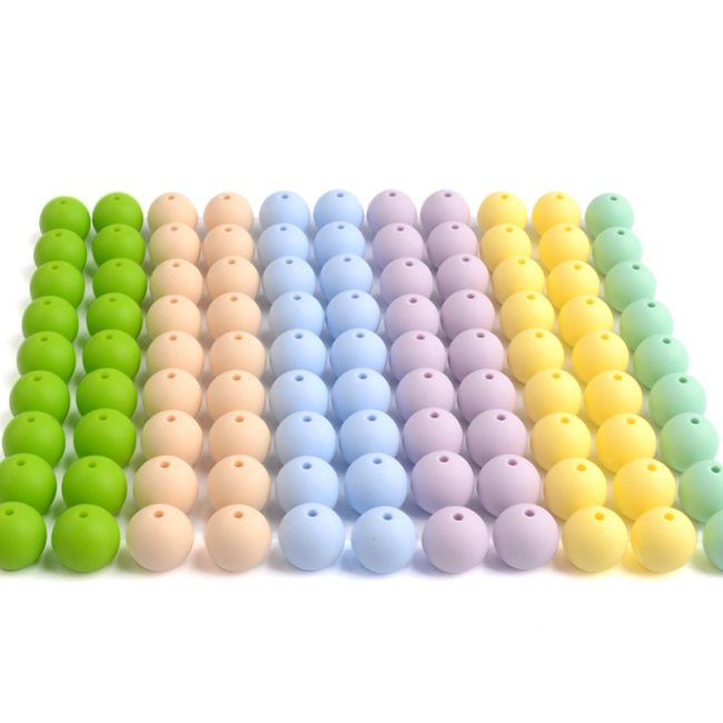 LOFCA 12mm 50pcs lot Beads food grade silicone Teether Round Beads Baby Chewable Teething Beads silicone 5