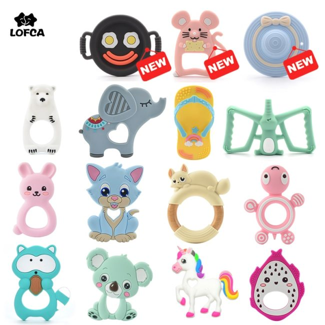 LOFCA 1pc Baby Teething Toys Cartoon Liquid Ice Cream Silicone Teether Pendant Raccoon Necklace Accessories Infant