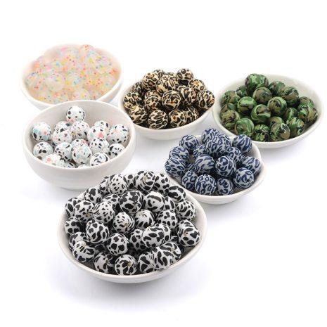 LOFCA Silicone Beads 12mm 50pcs lot Teething Necklace Round Silicone Bead Baby Teether Toy Silicone BPA 3