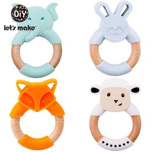 Let s Make 1pc Baby Toys Silicone Baby Teether Beech Wooden Ring Hand Teething Rattles Musical