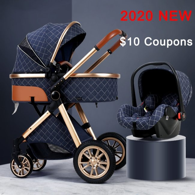 Luxury Baby Stroller 3 in 1 High landscape Baby Cart Can Sit Can Lie Baby Pushchair