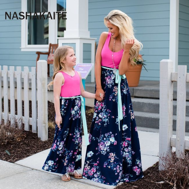 NASHAKAITE Mom and daughter dress Family matching clothes Floral Printed Long Dress For Mother Daughter Mommy 4