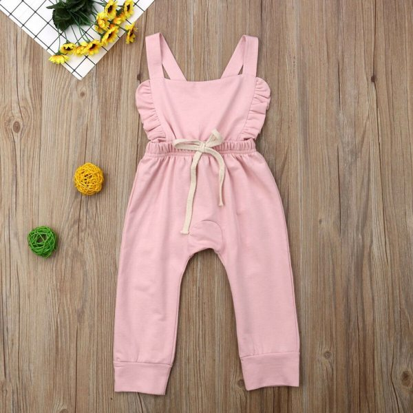Newborn Baby Girl Boy Backless Striped Ruffle Romper Overalls Jumpsuit Clothes Onesies kid clothing toddler clothes 4