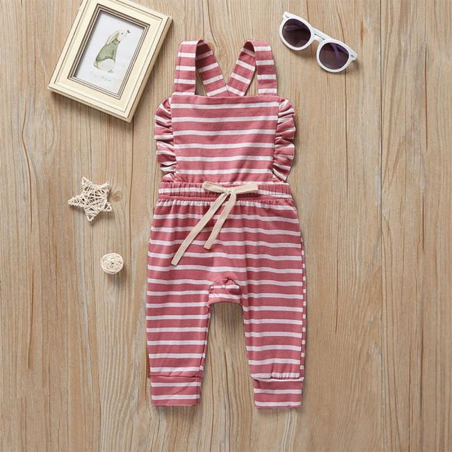 Newborn Baby Girl Boy Backless Striped Ruffle Romper Overalls Jumpsuit Clothes Onesies kid clothing toddler clothes 5