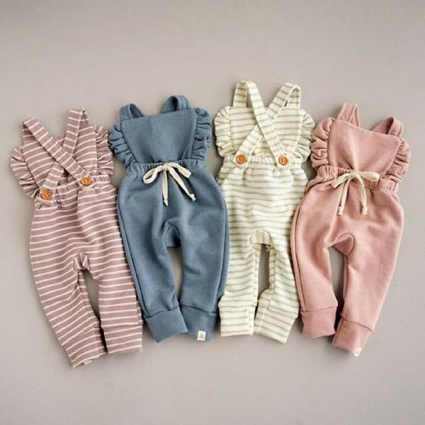 Newborn Baby Girl Boy Backless Striped Ruffle Romper Overalls Jumpsuit Clothes Onesies kid clothing toddler clothes
