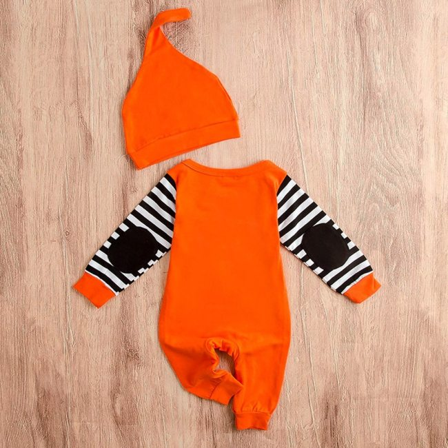 Newborn Infant Baby Girls Boys Autumn Halloween Costume For Kids Clothes Stripe Letter Print Jumpsuit Outfits 3