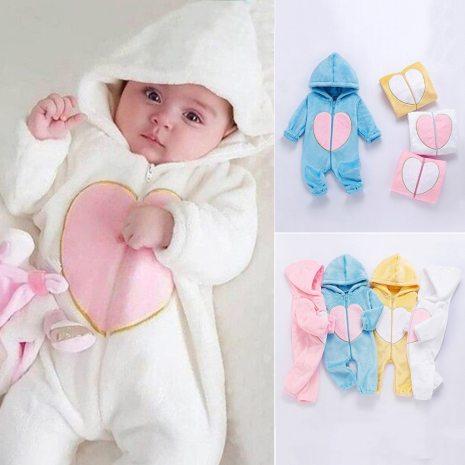 Newborn Winter Hooded Romper Baby Fleece Climbing Suit Autumn Zipper Heart Outwear Toddler Infant Boy Girl