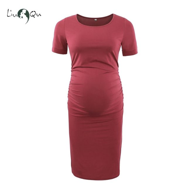 Pack of 3pcs Women s Side Ruched Maternity Clothes Bodycon Dress Mama Casual Short Sleeve Wrap 4