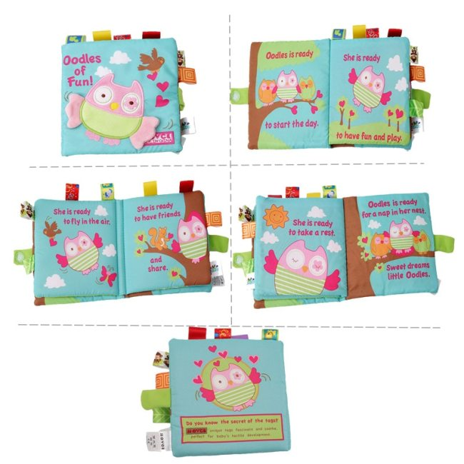 Soft Baby Cloth Book Infant Early Learning Educational Development Animals Monkey Owl Dog JJOVE Fabric Books 3