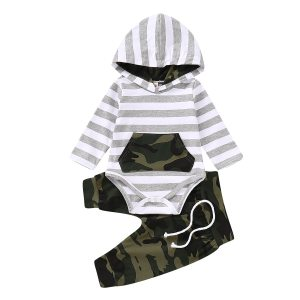 Toddler Baby boys clothes 3pcs Newborn Baby Infant Boys Hoodies Striped Romper Jumpsuit Camouflage Pants Outfits