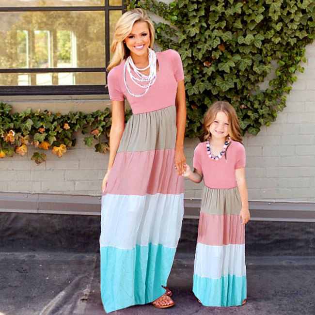summer Mommy and me family matching mother daughter dresses clothes striped mom dress kids child outfits 2