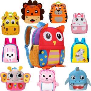 2019 New 3D Children School Bags for Girls Boy Children Backpacks Kindergarten Cartoon Animal Toddle Kids