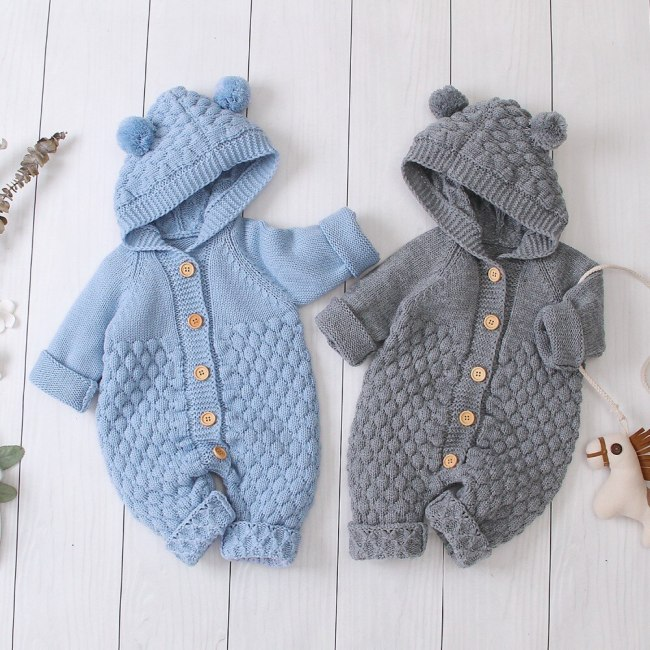 2020 Autumn Winter New Newborn Sweater Baby Clothes Romper Bear Ear Knit Hooded Jumpsuit Outfit Clothing 2