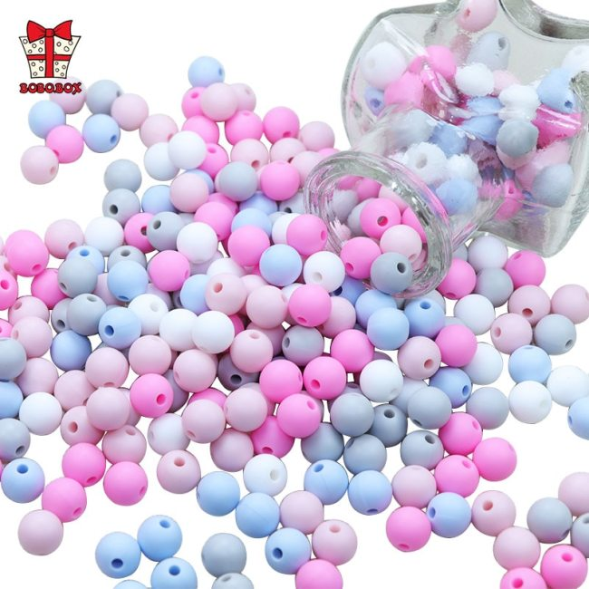BOBO BOX 50Pcs Round Silicone Beads 9mm Perle Silicone Teething Beads For Jewelry Making Baby Products