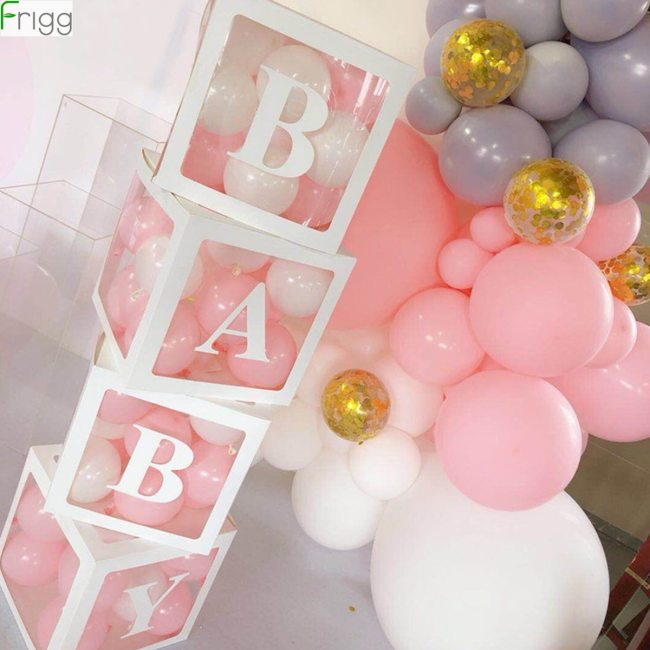 Baby Shower Boy Girl Transparent Box Baby Shower Decoration Baby Christening Birthday Party Decor Balloon