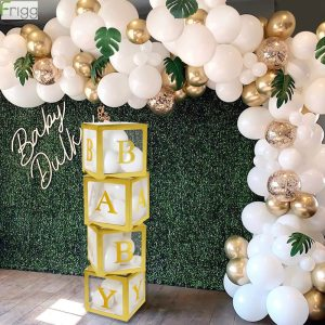Gold Box Transparent Name Age Box Girl Boy Baby Shower Decorations Baby 1st 1 One Birthday 1