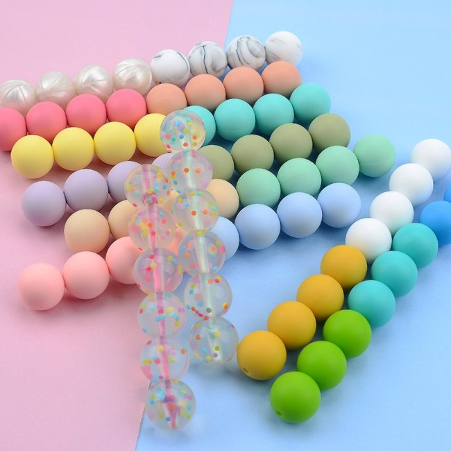 LOFCA 12mm 20pcs lot Silicone Loose Beads Teething Beads DIY Chewable Colorful Teething For Infant Baby 5