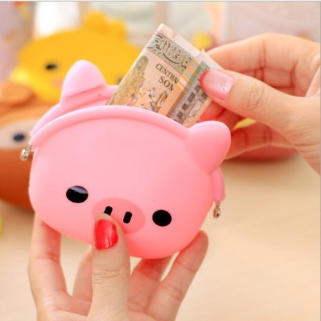 New Fashion Lovely Kawaii Candy Color Cartoon Animal Women Girls Wallet Multicolor Jelly Silicone Coin Bag 4