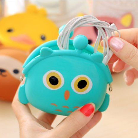 New Fashion Lovely Kawaii Candy Color Cartoon Animal Women Girls Wallet Multicolor Jelly Silicone Coin Bag 5