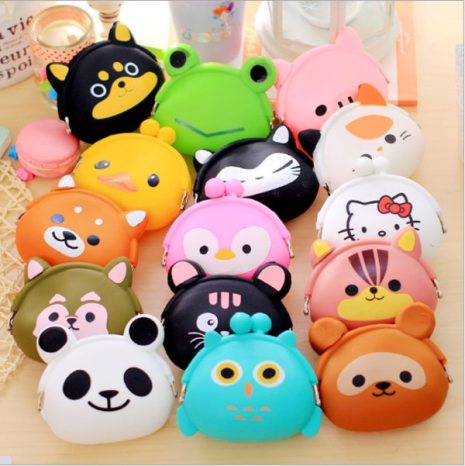 New Fashion Lovely Kawaii Candy Color Cartoon Animal Women Girls Wallet Multicolor Jelly Silicone Coin Bag