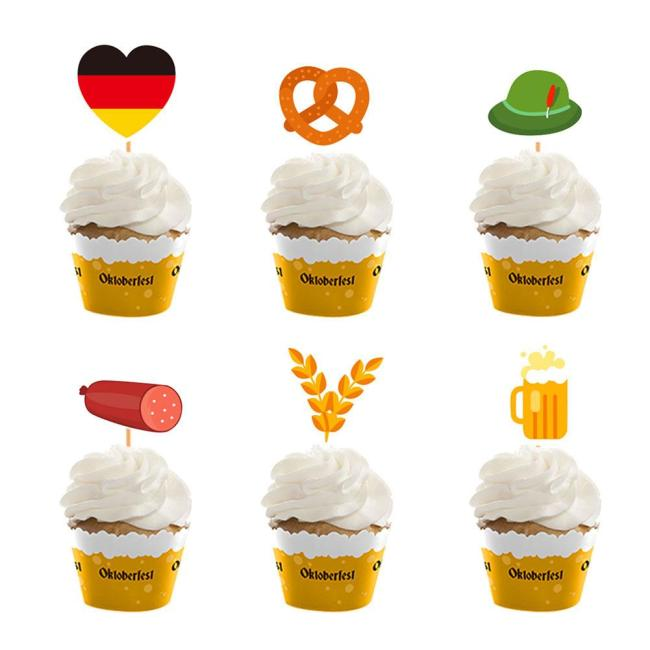 Oktoberfest Festival Party Balloons Props Oktoberfest Banner Flags Cake Topper for Beer Party Supplies Baby Shower 4