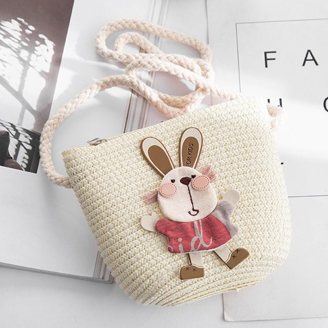 Summer Hand Made Straw Bags Children Single Inclined Shoulder Bags Exquisiteness Kids Cartoon Coin Purses Cute 5