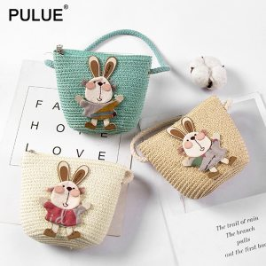 Summer Hand Made Straw Bags Children Single Inclined Shoulder Bags Exquisiteness Kids Cartoon Coin Purses Cute