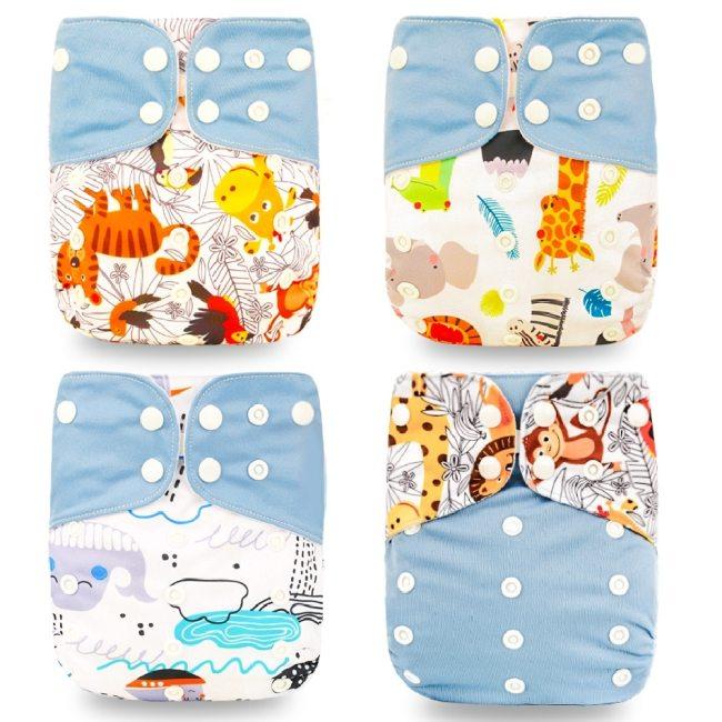 Happyflute HOt Sale OS Pocket Diaper 4pcs set Washable Reusable Baby Nappy New Print Adjustable Baby